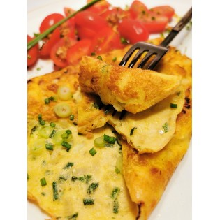 Omelette Ciboulette Oignon.