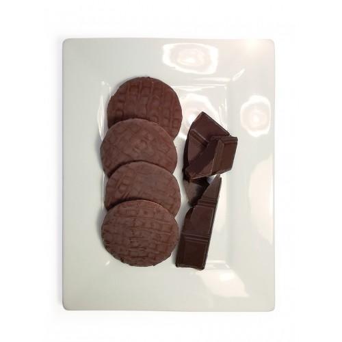 Biscuits nappés au chocolat noir.