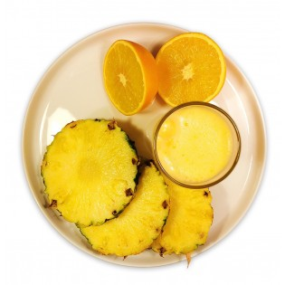 Jus saveur ananas orange.